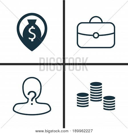Management Icons Set. Collection Of Briefcase, Money, Anonymous And Other Elements. Also Includes Symbols Such As Coins, Suitcase, Pin.