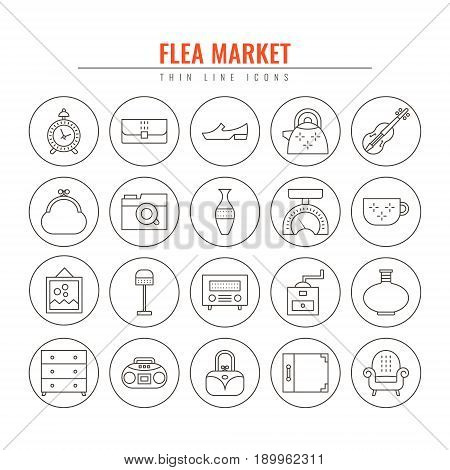 Flea market outline icons. Design elements for Websites Banners Posters Signs. Vector line style illustration.