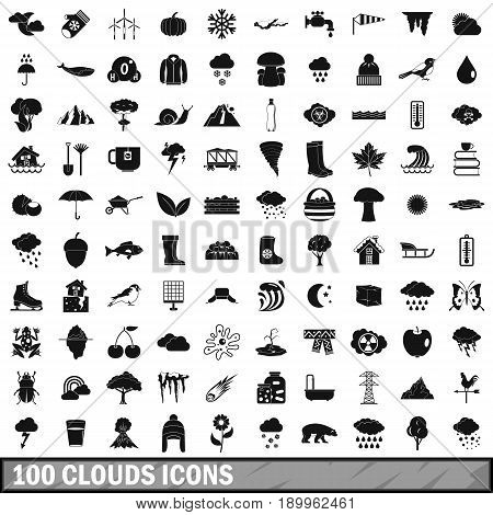 100 clouds icons set in simple style for any design vector illustration