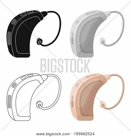 Hearing aid.Old age single icon in cartoon style vector symbol stock illustration .