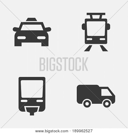 Shipment Icons Set. Collection Of Cab, Streetcar, Railroad And Other Elements. Also Includes Symbols Such As Trolley, Train, Van.