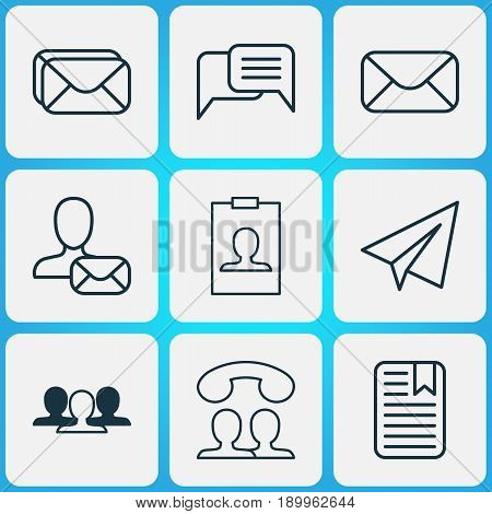 Communication Icons Set. Collection Of Mailbox, Online Chatting, Group And Other Elements. Also Includes Symbols Such As Envelope, Correspondence, Paper.