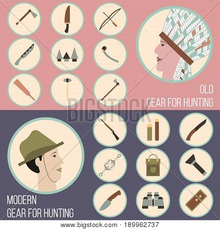 The hunting Vector illustration Equipment and weapons for hunting past and present Hunting banners template
