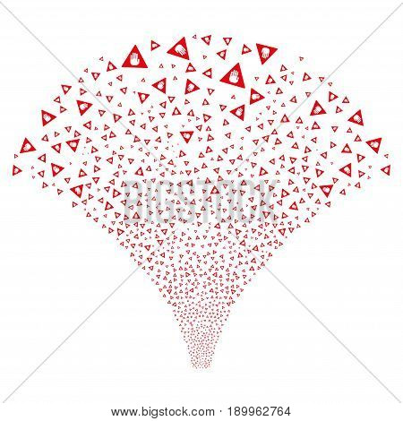 Source stream of caution symbols. Vector illustration style is flat red iconic symbols on a white background. Object stream combined from confetti pictograms.