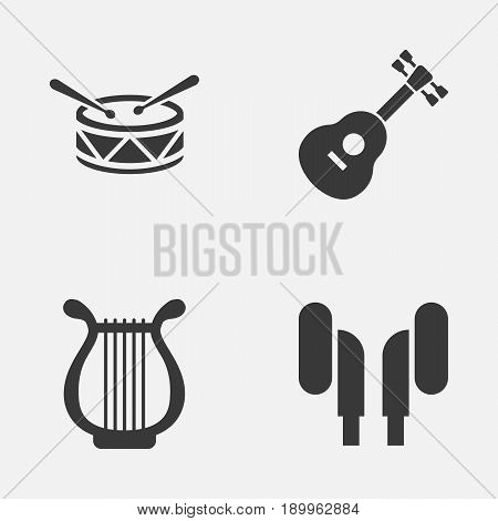Multimedia Icons Set. Collection Of Barrel, Instrument, Earmuff And Other Elements. Also Includes Symbols Such As Drum, Headphone, Instrument.