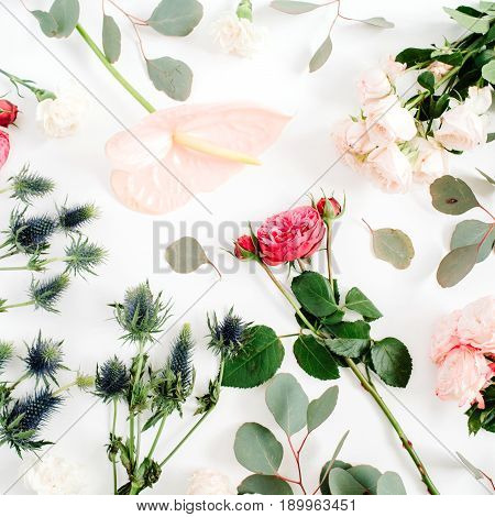 Beautiful flowers: bombastic roses blue eringium pink anthurium flower eucalyptus branches on white background. Flat lay top view. Floral lifestyle composition.