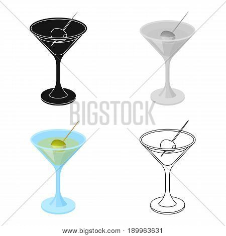 A glass of alcohol with olive.Olives single icon in cartoon style vector symbol stock illustration .