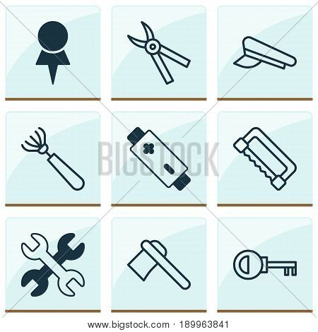 Equipment Icons Set. Collection Of Cop Cap, Spanner, Carpentry And Other Elements. Also Includes Symbols Such As Pliers, Cutter, Saw.