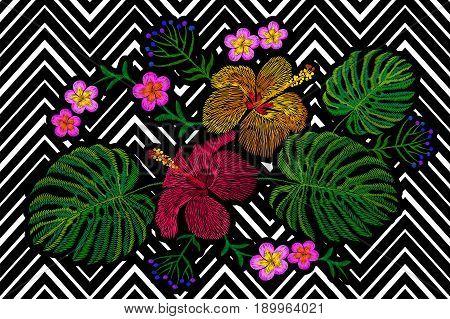 Tropical embroidery flower arrangement. Exotic plant blossom summer jungle. Fashion print textile patch. Hawaii hibiscus plumeria monstera geometric seamless stripe vector illustration art
