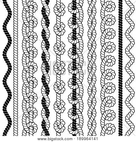 Set of black and white vector seamless borders with ropes