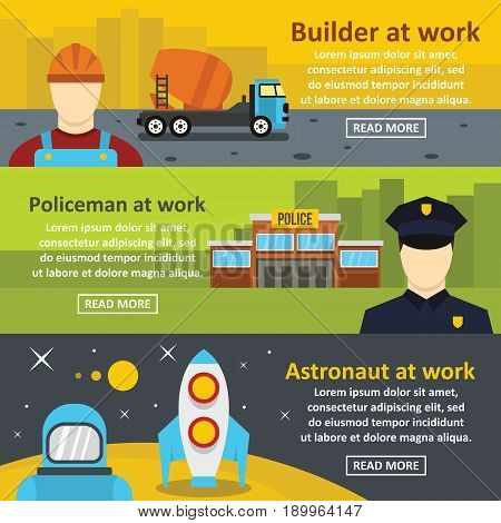 Professions builder, policeman, astronaut banner horizontal concept set. Flat illustration of 3 professions builder, policeman, astronaut vector banner horizontal concepts for web
