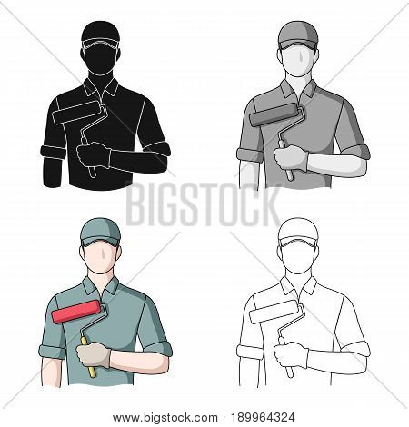 Painter.Professions single icon in cartoon style vector symbol stock illustration .