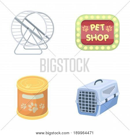 Container for carrying animals and other attributes of the zoo store. Pet shop set collection icons in cartoon style vector symbol stock illustration .