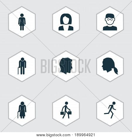 Human Icons Set. Collection Of Male, Gentlewoman Head, Old Woman And Other Elements. Also Includes Symbols Such As Scientist, Jogging, Grandpa.