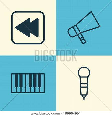 Music Icons Set. Collection Of Bullhorn, Microphone, Piano And Other Elements. Also Includes Symbols Such As Synthesizer, Instrument, Megaphone.