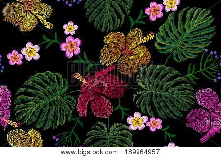 Tropical embroidery flower arrangement. Exotic plant blossom summer jungle. Fashion print textile patch. Hawaii hibiscus plumeria monstera seamless vector illustration art