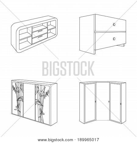 Chest of drawers, wardrobe with mirror, corner cabinet, white chest. Bedroom furniture set collection icons in outline style vector symbol stock illustration .