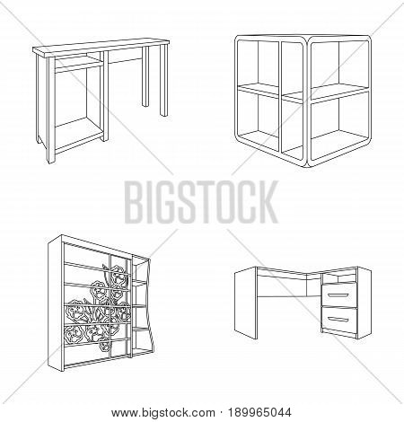 Dressing table, corner shelves, computer desk, wardrobe with glass. Bedroom furniture set collection icons in outline style vector symbol stock illustration .