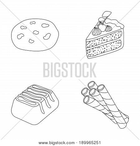 American cookies, a piece of cake, candy, wafer tubule. Chocolate desserts set collection icons in outline style vector symbol stock illustration .