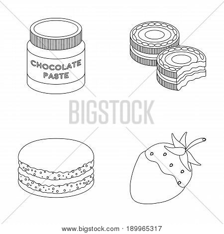 Chocolate pasta, biscuit, strawberry in chocolate, hamburger. Chocolate desserts set collection icons in outline style vector symbol stock illustration .