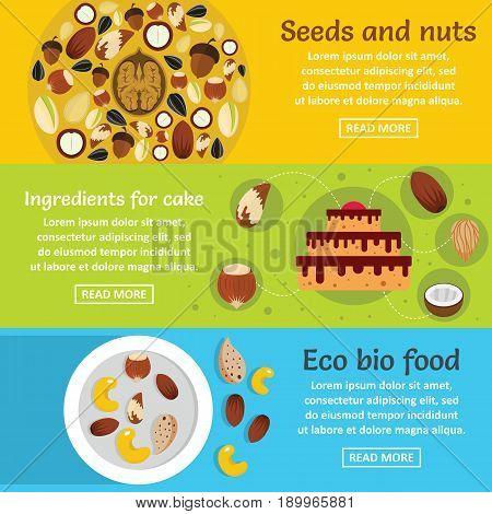 Nuts seeds food banner horizontal concept set. Flat illustration of 3 nuts seeds food vector banner horizontal concepts for web