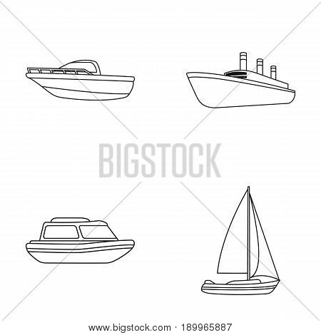 Protection boat, lifeboat, cargo steamer, sports yacht.Ships and water transport set collection icons in monocrome style vector symbol stock illustration .