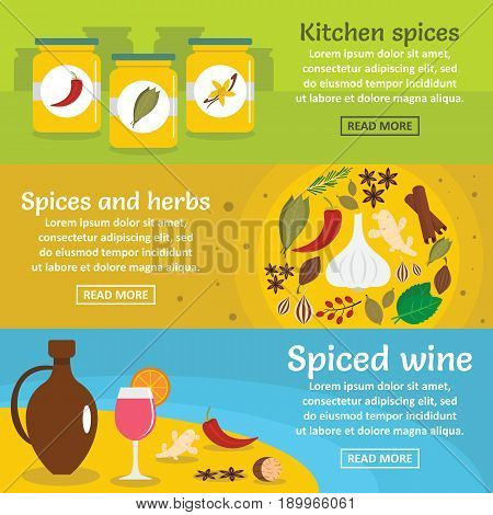 Spices cooking banner horizontal concept set. Flat illustration of 3 spices cooking vector banner horizontal concepts for web