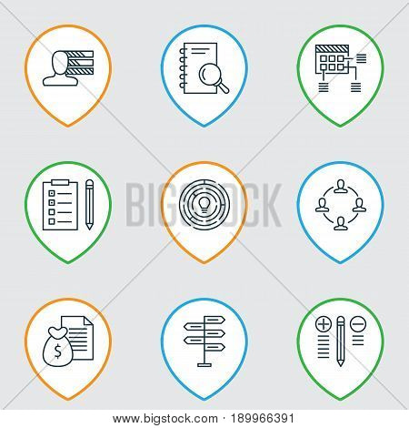Project Icons Set. Collection Of Collaboration, Innovation, Decision Making And Other Elements. Also Includes Symbols Such As Task, Decision, Teamwork.