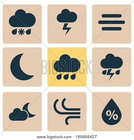 Weather Icons Set. Collection Of Lightning, Moisture, Haze And Other Elements. Also Includes Symbols Such As Wind, Wet, Moonlight.