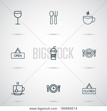 Cafe Icons Set. Collection Of Meal Hour, Cutlery, Tea And Other Elements. Also Includes Symbols Such As Wineglass, Open, Drink.
