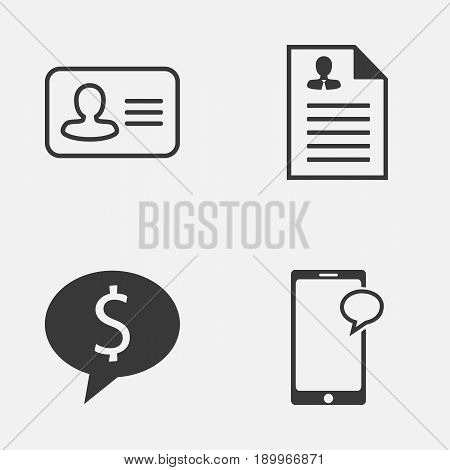 Resources Icons Set. Collection Of Curriculum Vitae, Personal Badge, Messaging And Other Elements. Also Includes Symbols Such As Money, Male, Mobile.