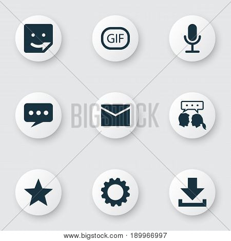 Media Icons Set. Collection Of Letter, Chat, Message And Other Elements. Also Includes Symbols Such As Arrow, Gear, Favorite.