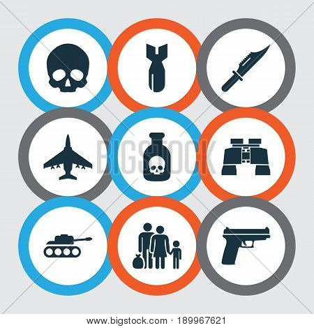 Warfare Icons Set. Collection Of Glass, Aircraft, Cranium And Other Elements. Also Includes Symbols Such As People, Bomber, Cutter.