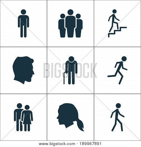 People Icons Set. Collection Of Jogging, Grandpa, Group Elements. Also Includes Symbols Such As Running, Couple, Head.