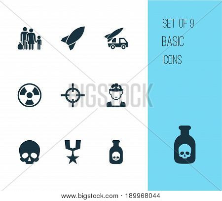 Warfare Icons Set. Collection Of Dangerous, Military, Order And Other Elements. Also Includes Symbols Such As Bio, Medal, Bomb.