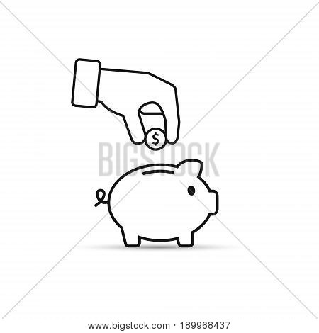 Piggy bank and hand with coin black outline icon. Vector.