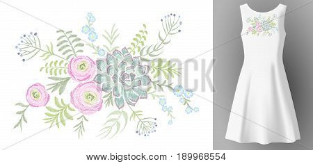 White woman dress 3d realistic mock up floral embroidery fashion decoration. Flower succulent ranunculus eucalyptus patch neckline print textile vector illustration art
