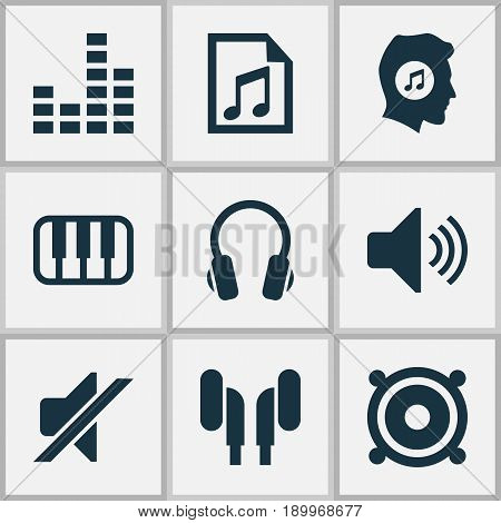 Music Icons Set. Collection Of Meloman, Earphone, Megaphone And Other Elements. Also Includes Symbols Such As Speaker, Headphone, Lover.