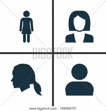 Person Icons Set. Collection Of Female, Businesswoman, User And Other Elements. Also Includes Symbols Such As Job, Woman, Gentlewoman.