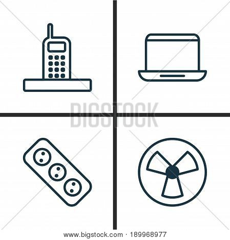 Hardware Icons Set. Collection Of Extension Cord, Notebook, Ventilator And Other Elements. Also Includes Symbols Such As Notebook, Ventilator, Computer.