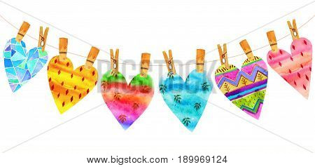 Lovely Cartoon Watercolor seamless love hearts valentines patternitems of a collection and illustrations isolated on white background.Perfect for valentines holiday.Good for love card