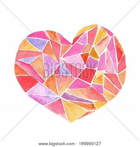 Lovely Cartoon Watercolor love heart valentines pattern.Colorful pink heart with geometric print illustrations isolated on white background. Perfect for valentines holiday. Good for love card valentine day