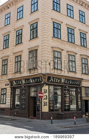 VIENNA, AUSTRIA-JUNE 01, 2017: Residential house with bar old bakery in vienna