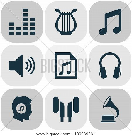 Multimedia Icons Set. Collection Of Earmuff, Equalizer, Meloman And Other Elements. Also Includes Symbols Such As File, Instrument, Music.