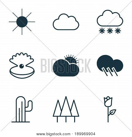 Ecology Icons Set. Collection Of Love Flower, Sunny Weather, Snowstorm And Other Elements. Also Includes Symbols Such As Sun, Snowflake, Overcast.