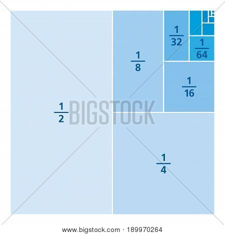 Unit fractions drawn as portions of a square. One divided by the first six powers of two. First six summands of infinite series 1/2, 1/3, 1/4, 1/8, 1/16, 1/64, ... Blue over white illustration. Vector