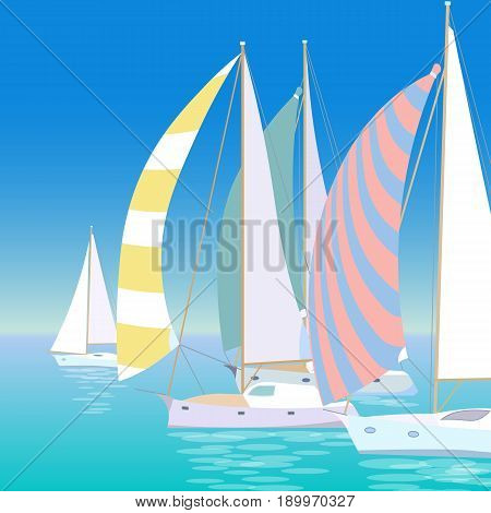 Yacht regatta on wave blue sea ocean. Sunny summer vacation travel adventure background. Striped colorful sail canvas white boats race transport vector illustration art
