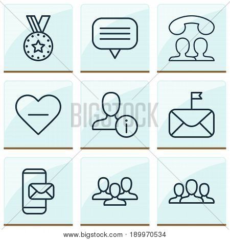 Network Icons Set. Collection Of Medal, Profile Data, Text Bubble And Other Elements. Also Includes Symbols Such As People, Social, Unfollow.