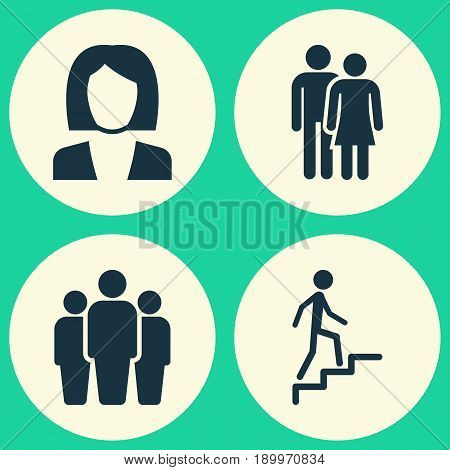 Person Icons Set. Collection Of Group, Beloveds, Ladder And Other Elements. Also Includes Symbols Such As Woman, Climbing, Man.