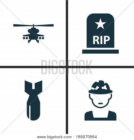 Warfare Icons Set. Collection Of Chopper, Rip, Rocket And Other Elements. Also Includes Symbols Such As Tomb, Soldier, Grave.